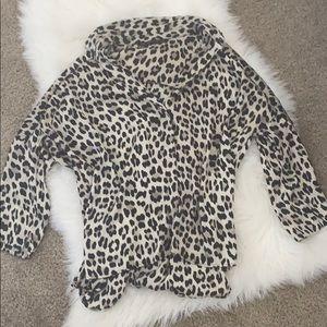 Zara Leopard Print Silk Button Down